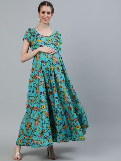 Green & Yellow Floral Printed Flared Maxi