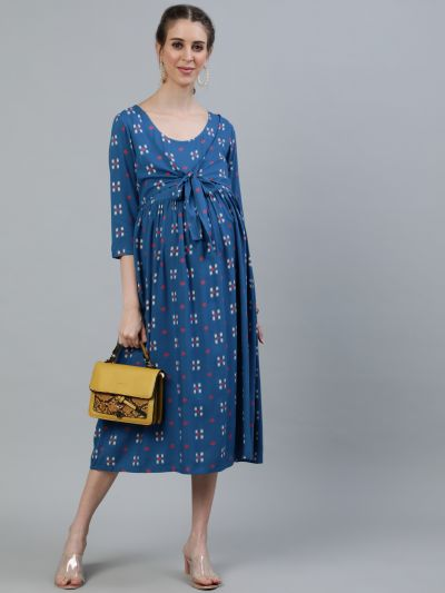 Blue Printed Maternity Tie-up Dress