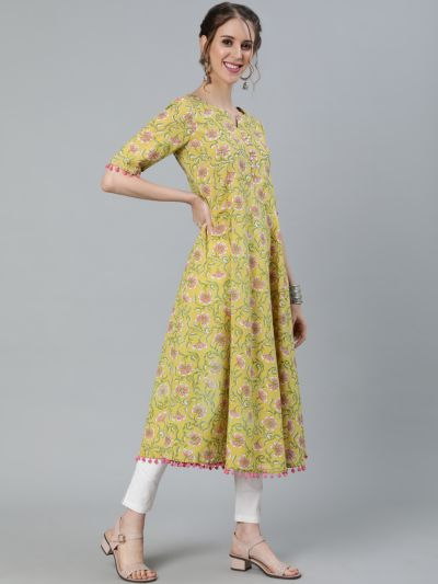 Yellow & Pink Floral Printed Anarkali With Pom-Pom Details