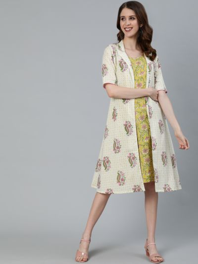 Yellow & Cream Floral Printed Dress With Jacket