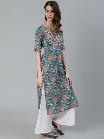 Green & Red Floral Printed Kurta With Yoke Lace Details