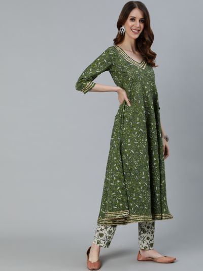 Green Floral Printed Anarkali With Sequence Details