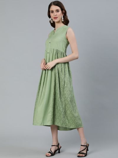 Green Printed Pleated A-Line Dress