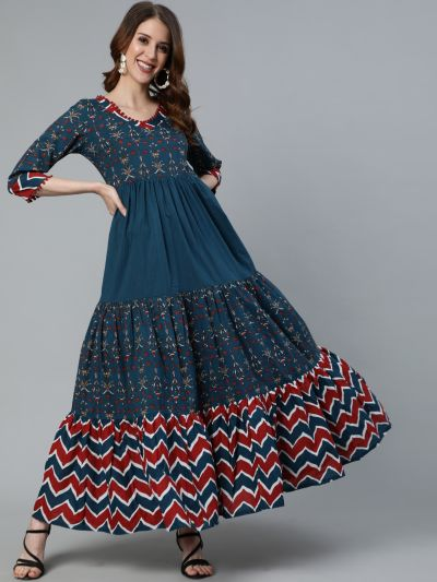 Blue & Maroon Floral Printed Tiered Maxi