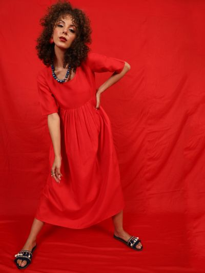 Red Solid Gathered A-Line Kurta