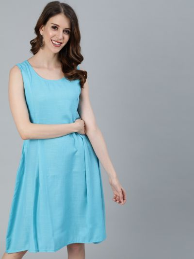 Turquoise Blue Solid A-Line Dress