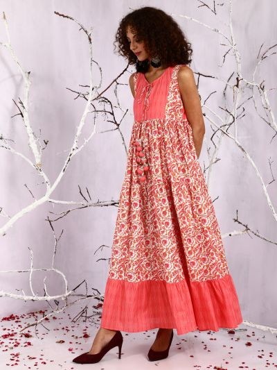 Peach & White Floral Printed Tiered Maxi Dress