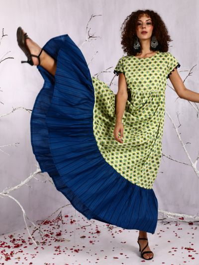 Green & Blue Printed Tiered Maxi Dress