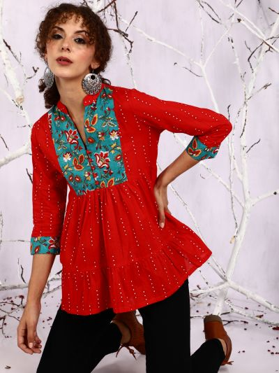 Red & Green Floral Printed Tunic