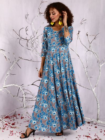 Blue & White Floral Printed Flared Maxi