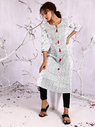 White & Grey Floral Printed A-Line Kurta With Pink Tassle Details