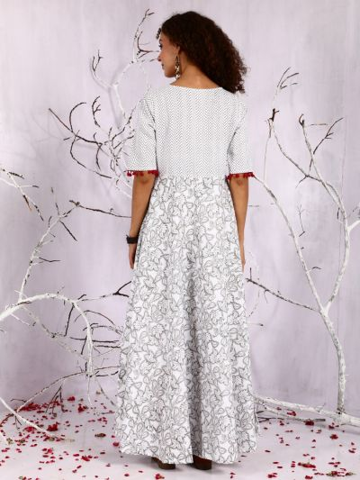 White & Grey Floral Printed Flared Maxi