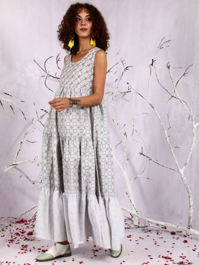 White & Grey Floral Printed Sequance Work Tiered Maxi