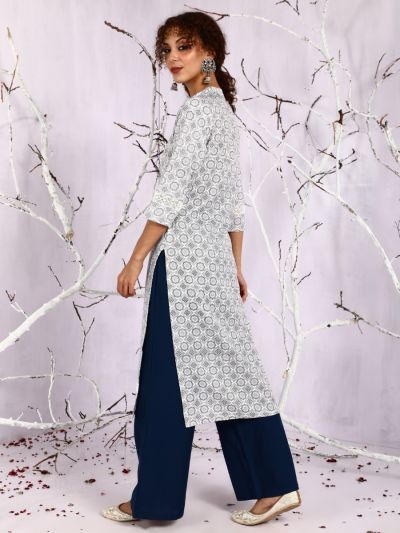 White & Grey Floral Printed Straight Kurta With Lace Details