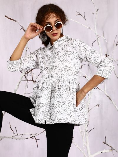 White & Grey Floral Printed Tunic