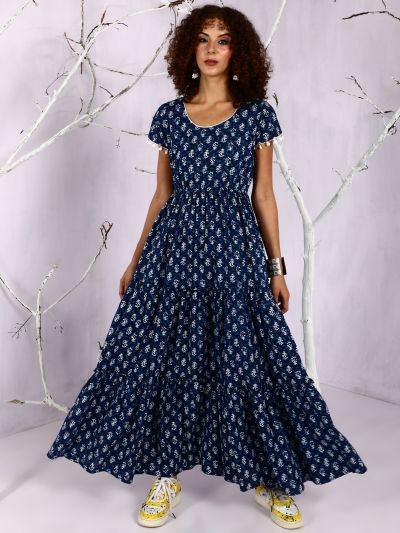 Blue & White Printed Tiered Maxi With Pom-Pom Details