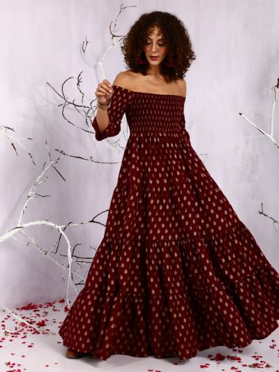 Maroon Gold Printed Off-Shoulder Tiered Maxi