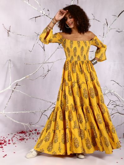 Yellow Floral Printed Off-Shoulder Tiered Maxi