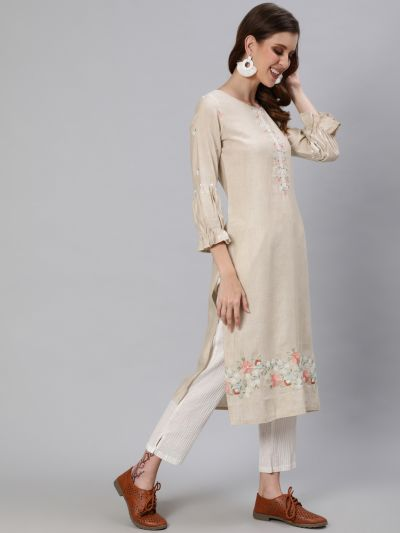 Green Embroidered Straight Kurta With Gathered Sleeves