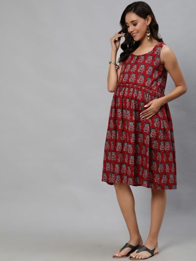 Maroon Floral Printed Maternity Gathered Dress
