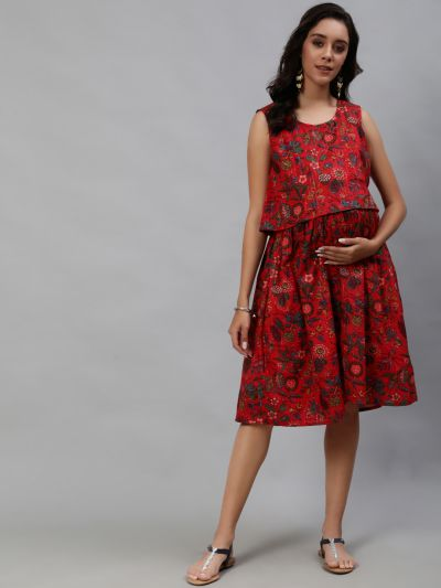 Red Lurex Floral Printed Maternity Dress