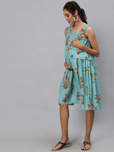 Blue & Red Floral Printed Maternity Dress