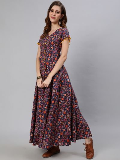 Blue & Yellow Patola Printed Flared Maxi With Pom Pom Lace