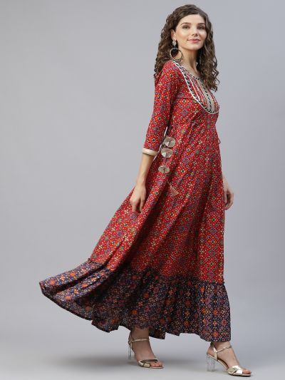 Red & Blue Patola Printed Flared Maxi With Lace Details