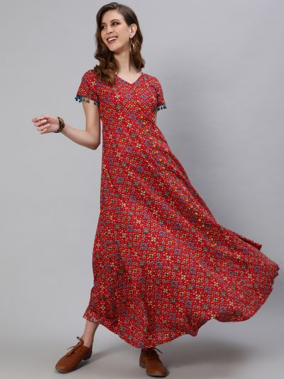 Red & Blue Patola Printed Flared Maxi With Pom Pom Lace