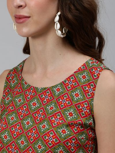 Red & Green Patola Printed Box Pleated Dress