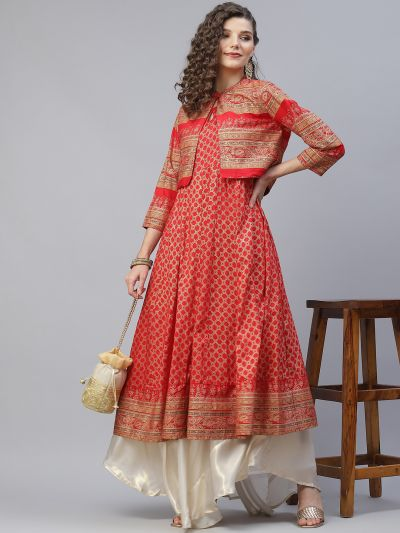 Red Gold Printed Anarkali With Jacket