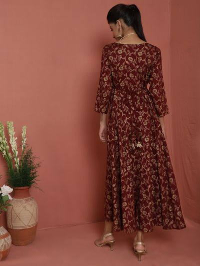 Maroon Gold Floral Printed Flared Maxi