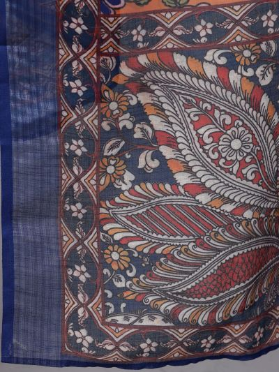Orange & Blue Kalamkari Printed Dupatta