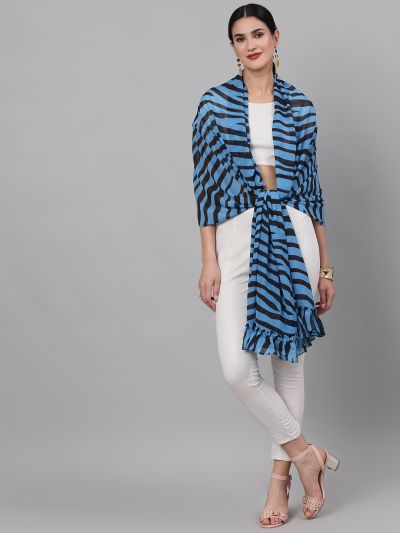 Blue & Black Zebra Printed Dupatta