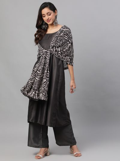 Black & Beige Animal Printed Dupatta