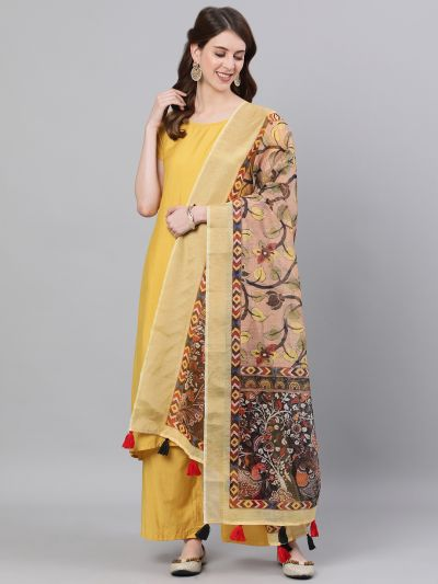 Yellow & Grey Kalamkari Printed Dupatta