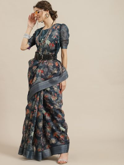 Blue & Red Floral Printed Saree
