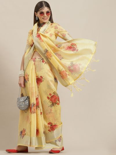 Yellow & Red Floral Printed Saree