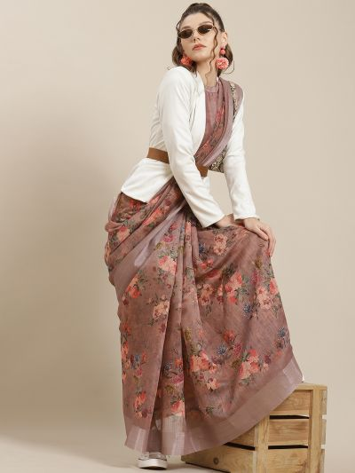 Brown & Red Floral Printed Saree With Blouse Piece