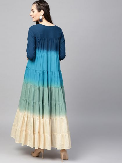 Blue Ombre Print Tiered Flared Anarkali