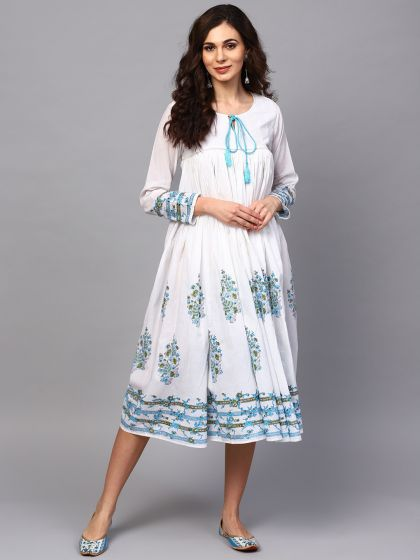 White & Blue Floral Printed Flared Dress