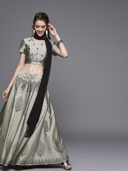 AKS Couture Grey & Black Printed Ready to Wear Lehenga & Blouse with Dupatta