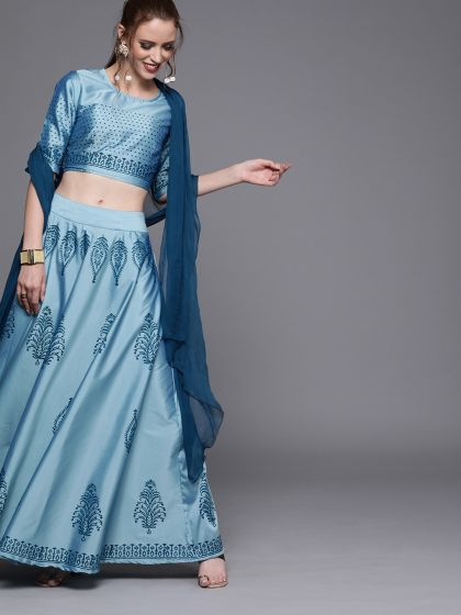 AKS Couture Blue & Black Printed Ready to Wear Lehenga & Blouse with Dupatta