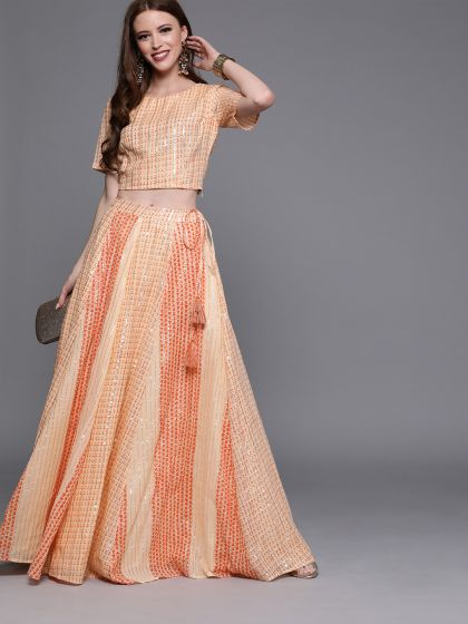 AKS Couture Peach-Coloured & Silver-Toned Ready to Wear Paneled Lehenga with Blouse