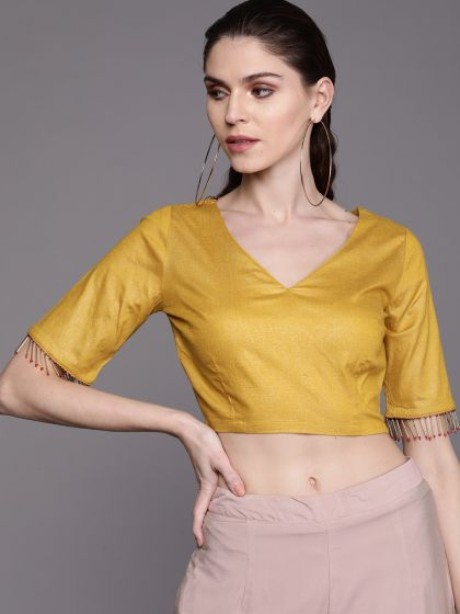 AKS Couture Women Mustard Yellow Solid Saree Blouse