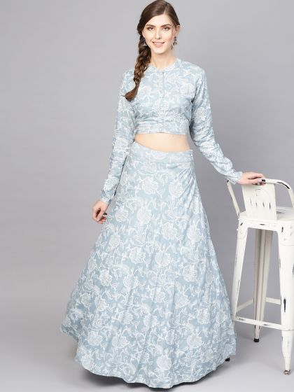 Blue khadi print lehenga with top