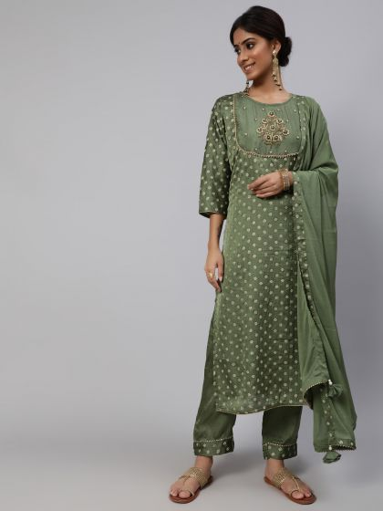 Green Embroidered Kurta & Pant With Solid Dupatta Set