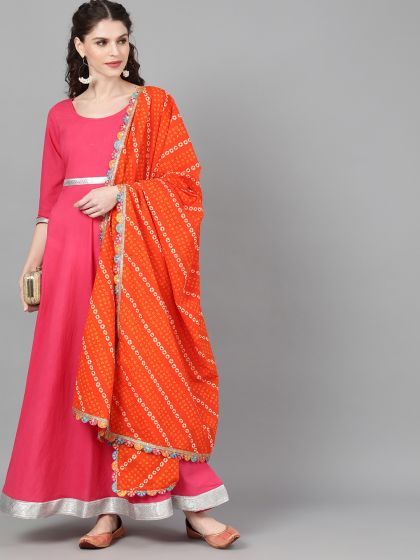 Magenta Solid Maxi With Orange Bandhani Dupatta