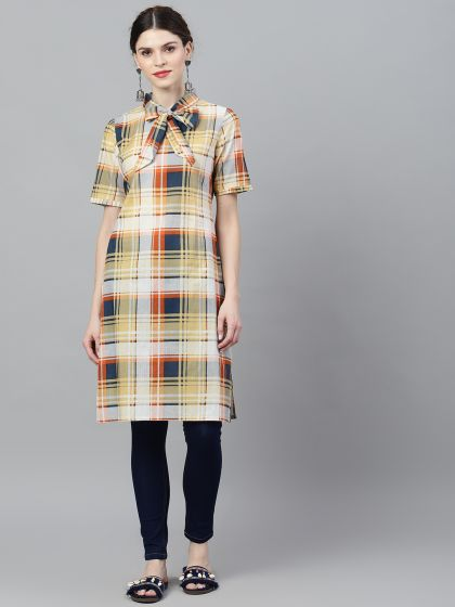 Yellow Checks Printed Tie Neck Kurta