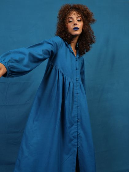 Royal Blue Solid Maxi With Hooded